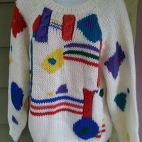 Vintage 80s baggy geometric  abstract Cosby sweater size ladies large