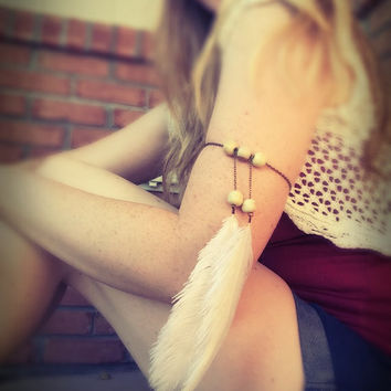 White Feather upper arm chain,body jewelry,arm harness,boho,woodland jewelry,free people,Native American style,gypsy jewelry,armlet,arm cuff