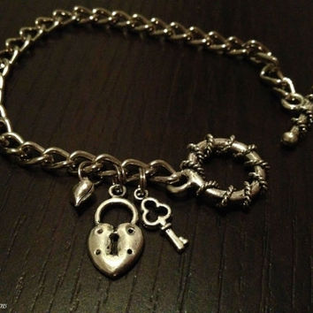 Beautiful Key Lock Bracelet with Key Lock, Key and Heart Charm