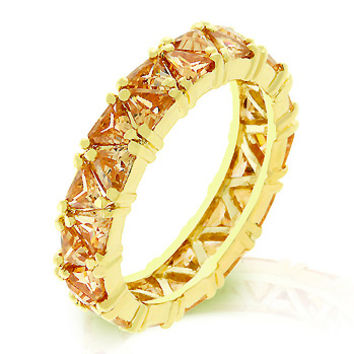14K Gold Fine Trillion Cut Champagne CZ Eternity Ring