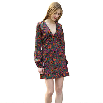 Women Vintage Dress Floral Pattern Print Deep V-neck Lantern Sleeve Lady Casual Dress Orange Vestidos SM6