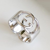 GUCCI Personality Fashion Women New 925 Sterling Silver Opening Ring Silver