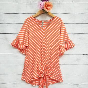 Show Your Stripes Ruffle Sleeve Top