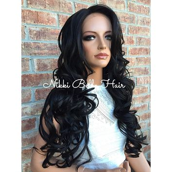 """Charlie Multi Parting Layered Curl Front Lace Wig 26"""" Swiss Human Hair Blend"""