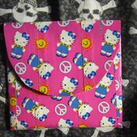 Duct tape Change Wallet In Hello Kitty Blue Bow And Peace Sign  With Velcro Closure Duck Tape