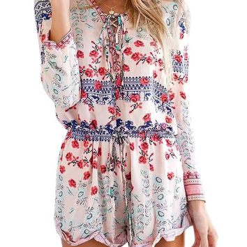 Folk Style Print Long Sleeve Lace-up Romper