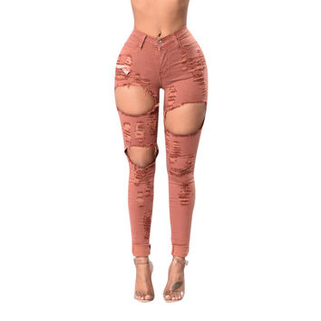 2017 Women Pink Pencil Pants Plus Size High Waist Elastic Hole Zipper Trousers Package Hip Scratched Hollow Out Jeans KWA0213-45