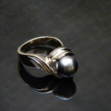SALE Genuine Black Tahitian Pearl 14K Yellow Gold by barakagems