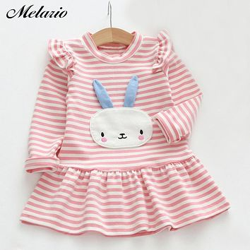 Sotida Girls Dresses 2018 Brand Fashion Kids Clothes Casual Style Baby Girls Clothes Long Sleeve Cartoon Bunny Print Plaid Dress