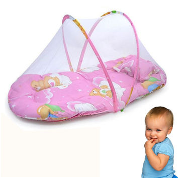 Blue Pink Portable Baby Bed Crib Summer Out Essential Folding Mosquito Net Infant Cushion Mattress Pillow