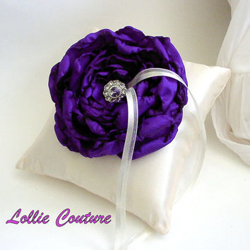 Ring Pillow Wedding Ring Pillow Satin Ring Pillow by lolliecouture