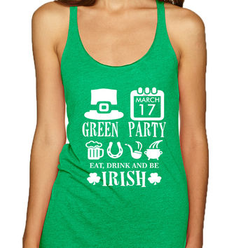 Women's Tank Top Green Party St Patrick's Day Shirt Drunk Top