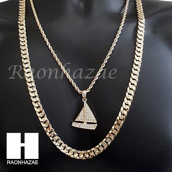 "MEN ICED OUT Lil YACHTY CHAIN DIAMOND CUT 30"" CUBAN LINK CHAIN NECKLACE S069"
