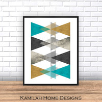 Geometric Poster Large, Mid Century Digital, Geometric Print, Printable Art, Geometric Art, Wall Art, Abstract Art Print, Digital Download