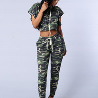 Womens Jumpsuits And Rompers Army Green Camouflage Print Bodysuit Hoody Crop Top And Pants Set Casual Overalls Sexy Outfits