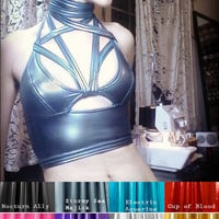 CAPRICIOUS, Futurist Witch Top, Convertible Bra, COLOR OPTIONS, Wet Look Spandex, Space Mermaid, Strappy Bondage Croptop Bustier Fetish S&M