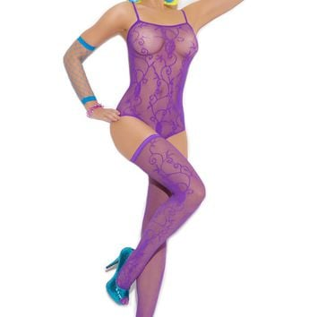 Floral Pattern Fishnet Teddy And Stockings (One Size,Neon Purple)