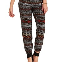 Zipper Pocket Aztec Print Jogger Pants