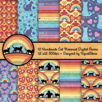 Cat Memorial Digital Papers Kitty Rainbow Bridge Backgrounds Paw Prints on Hearts Pet Loss Quotes Cat Sympathy Scrapbooking Kitty Cat Angels