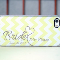 Bride to Be in Yellow Chevron + Gray + Wedding Date + Mrs Monogram + Clear Silicone iPhone Case