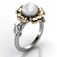14k two tone white and yellow gold South Sea pearl diamond unusual unique floral engagement ring, bridal ring, wedding ring ER-1045-4