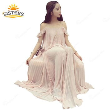 Women Summer Bohemian Style Long Chiffon Dress Ladies Pregnant Maternity Dresses Pleated Big Swing Naked Pink Dress Strapless
