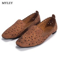 MYLEY 2017 Women Flats Hollow Out Comfortable Loafers Ladies Shoes Female Casual Shoes Chaussure Slip on Ballet Footwear