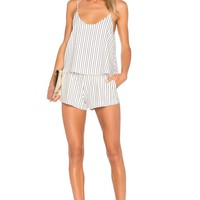 NBD Lyric Romper in Mauve Stripe | REVOLVE