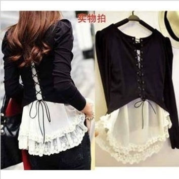 2012 autumn and winter fashion gentlewomen sexy fashion strap lace behind faux two piece t-shirt = 1920521668
