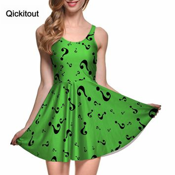 Fashion Women Digital Printing THE RIDDLER REVERSIBLE SKATER DRESS Vestidos Roupas Femininas Saias