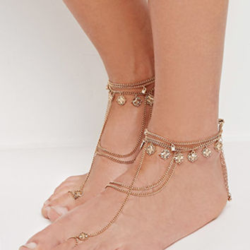 Diamond Charm Foot Chain Set
