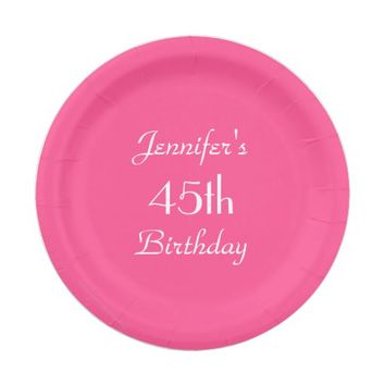 Hot Pink Paper Plates, 45th Birthday Party Paper Plate