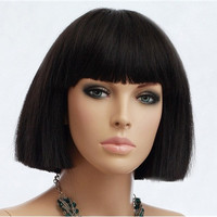 Japanese Style Short Straight Hair Wig with Blunt-Cut Bangs (Black)