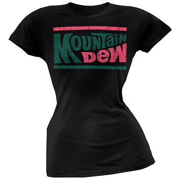 Mountain Dew - Distressed Logo Juniors Black T-Shirt