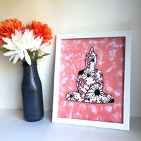 Hippie Bohemian buddha 8.5 x 11 inch art print for baby nursery, dorm room, or home decor