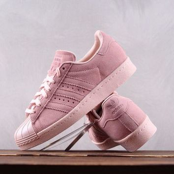 KUYOU A050 Adidas Superstar 80s Metal Toe Suede Causal Skate Shoes Pink