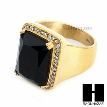 Men Iced Out Ring 316l Stainless Steel Gold Black Onyx Cz Ring Size 8 12 Sr015bk