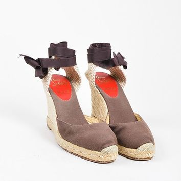 MDIGU2C Christian Louboutin Brown and Beige Canvas Round Toe Bridgette Espadrille Wedges