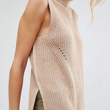 Abercrombie & Fitch Sleeveless Roll Neck Knit Top at asos.com