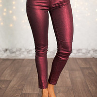 Machine Super Skinny Shinny Burgundy Jeggings