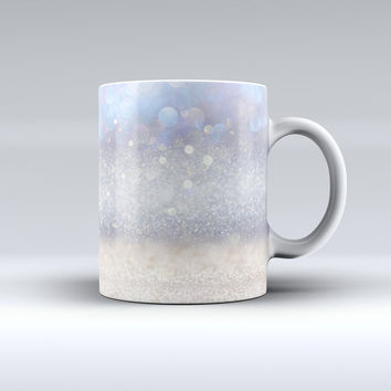The Light Blue and Tan Unfocused Orbs of Light ink-Fuzed Ceramic Coffee Mug