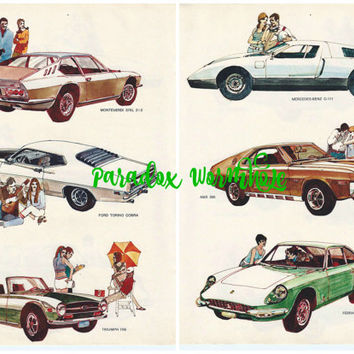 Vintage 1969 60's Double Sided Car Wall Art Decor Mercedes-benz AMX Ferrari Monteverdi Ford Torino Triumph Man Cave