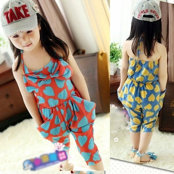 Sweet Kids Baby Girls Jumpsuit Cotton Heart Pattern Big Pocket Sleeveless Pants