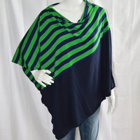 Two Tone Striped Poncho/ Nursing Poncho/ Breastfeeding Cover/ Nautical Striped Shawl/ Versatile Nautical Top/ New Mom Gift