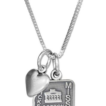 """Sterling Silver 18"""" Mississippi State Pendant Necklace With Heart Charm"""