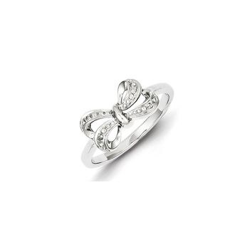 Sterling Silver Rhodium Plated Diamond Bow Ring