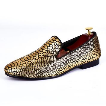 Harpelunde Gold Paisley Printed Men Shoes Fashion Velvet Loafers