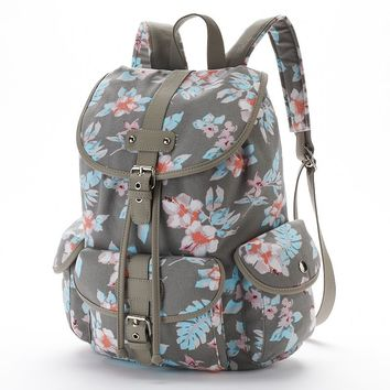 Candie's Abigail Cargo Backpack (Gray Floral)