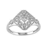 Diamond Accent Sterling Silver Openwork Ring (White)