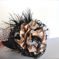 Steampunk hat in cappuccino and black lace and satin. Très chic Edwardian and feminine glamour. Weddings, Halloween.